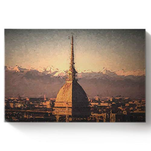 Arts Language DIY Oil Paintings Paint by Numbers Kit with Brushes for Adults/Kids Beginner Antennali Minaret in Turin, Italy Acrylic Paints on Canvas Wooden Framed Wall Art 16x20in