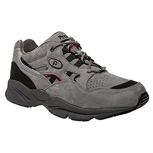 Propet Men's Stability Walker Shoes Grey/Black Nubuck 8.5 W (Wide) & Cleaner