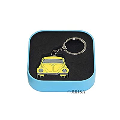 BRISA VW Collection - Volkswagen Beetle Car Bug Key Ring Chain in Embossed Gift Tin, Gift Idea/Fan Souvenir/Retro Vintage Product (Yellow/Enamel/Chrome): Automotive