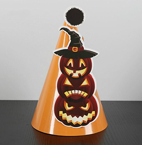 Showking Creative Party Hat Halloween Decoration DIY Pumpkin Pattern Cone Cap_Orange