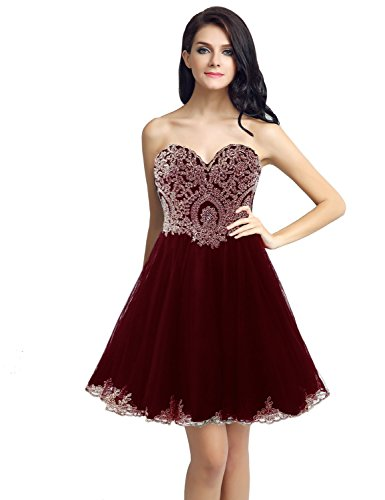 Sarahbridal Women's Sweetheart Lace Applique Mini Corset Beaded Homecoming Dress Burgundy US14 ()