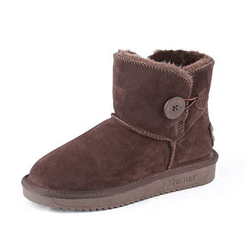 ZY&FC Snowshoe Lady Shoes avec Fond Plat Anti-dérapant d'hiver Bouton épaississement et Chaussures d'hiver Anti-dérapant au Chaud Thirty-five Clever color fc194e