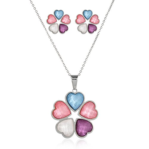Edforce Stainless Steel Five Multi-Colored Heart Stones Stone Heart Earrings Necklace Jewelry Set, N: 45+5cm