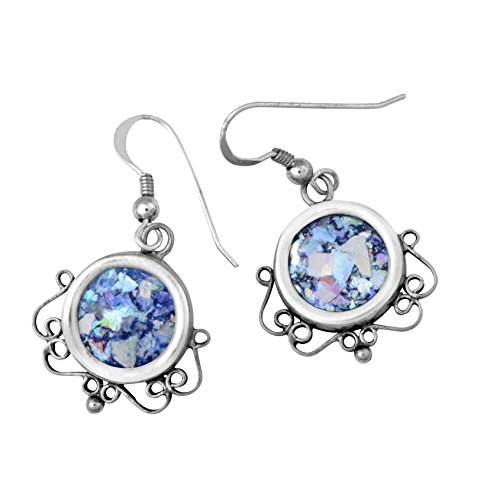 Sterling Silver & Roman Glass Dangle Circular Filigree Round Earrings ()