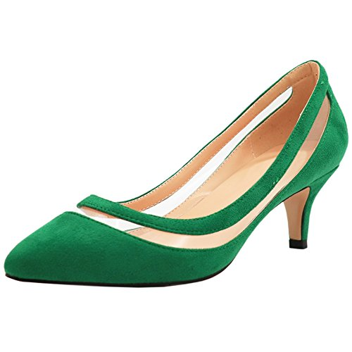 Heels Grün Heel Middle Pumps Spitze Wildleder for Damen Schuhe MERUMOTE Low PwxgqAq