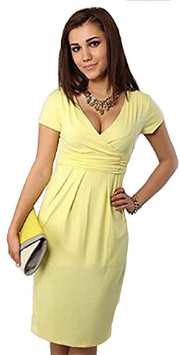 Gritu Women's Maternity Elegant V-neck Short Sleeve Bodycon High Elastic Pregnancy Casual Dress L