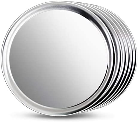 New Star Foodservice 50899 Pizza Pan Tray, Wide Rim, Aluminum, 14 Inch, Pack of 6
