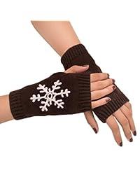 Christmas Women Girl Gloves, Knitted Arm Fingerless Warm Winter Mitten by XILALU