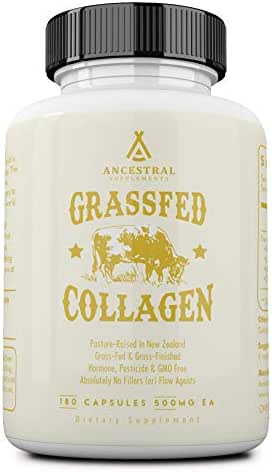 Ancestral Supplements Grass Fed (Living) Collagen—Supports Joints, Marrow Bones, Cartilage, Skin, Hair & Nails (180 Capsules)