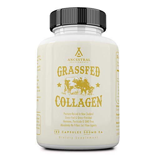 Ancestral Supplements Grass Fed (Living) Collagen-Supports Joints, Marrow Bones, Cartilage, Skin, Hair, Nails (180 Capsules) (Best Time To Take Iron Tablets)