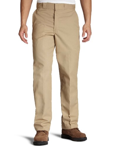 Dickies Men's Flat Front Multi Use Pocket Work Pant, Khaki, 34x32