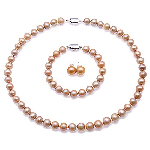 JYX Pearl Jewelry Set 9-10mm Round Champagne Freshwater Pearl Necklace Bracelet and Stud Earrings Sets for Women 18
