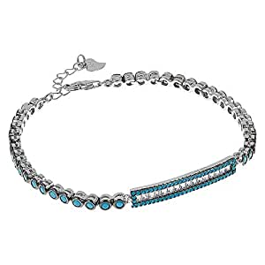 AK Jewels 925 Silver Rectangle Shape Baguette with Turquoise Bracelet For Women