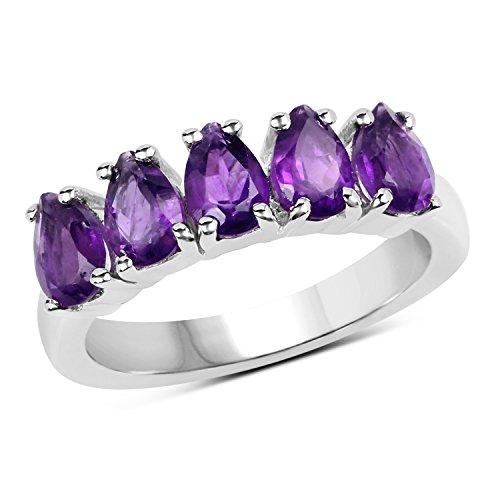 Sterling Silver Pear Cut Amethyst Bridal 5 Stone Anniversary Wedding Band (Size (Fancy Cut Amethyst Ring)