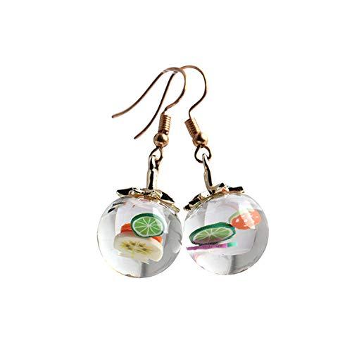 (Creative Fruit Glass Ball Bottle Dangle Earrings Strawberry Lemon Time Gem For Women Fashion Jewelry Gift)