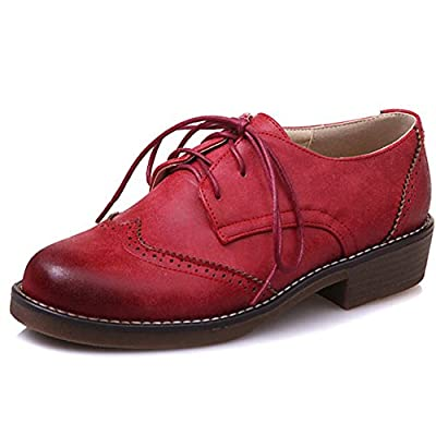 DoraTasia Women's Trendy Leather Perforated Wingtip Lace Up Low Heel Oxfords Vintage Brogues Shoes
