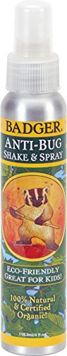 Biodegradable Insect Repellent - Badger - Anti-Bug Repellent Spray - 100% Natural and Certified Organic - 4 oz Aluminum Bottle