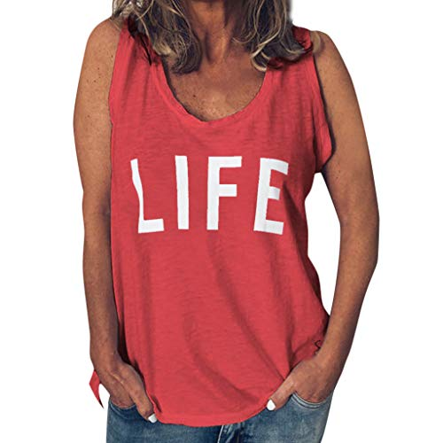 - Funny T Shirt for Women,ONLY TOP Womens Casual Life Letter T Shirt Short Sleeve&Sleeveless O Neck Blouse Tee Red