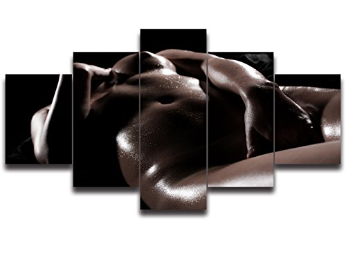 5 Panel Canvas Woman Sexual Paintings Print Sexy Nude Woman Wall Decor Wall Art Pictures Posters and Prints for Living Room Home Decor Gallery-wrapped Artwork Framed (50''Wx24''H, Artwork-02) by Yatsen Bridge
