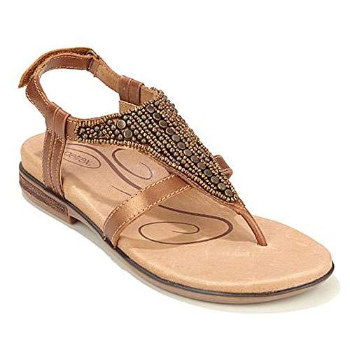 Aetrex Womens Sheila Leather Open Toe Casual Sport Sandals, Gold, Size - Aetrex Footwear