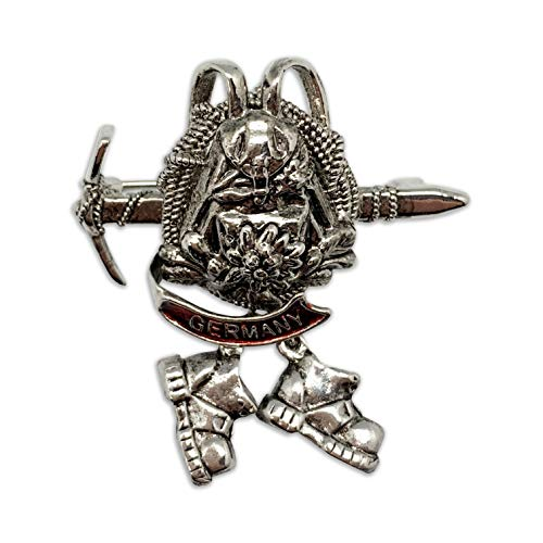 Oktoberfest German Hat Pin by E.H.G | Metal Ice Axe & Backpack Hiking Boots | Germany Banner