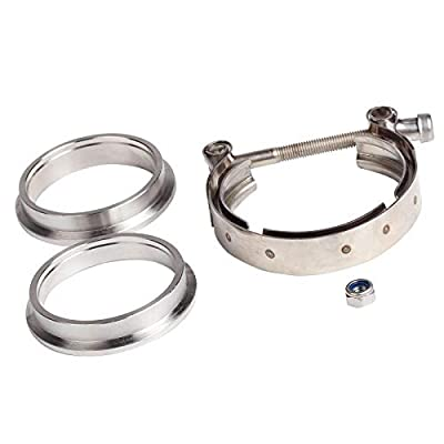 """JIUAUTOPARTS 3.5"""" Inch V Band Clamp with Stainless Steel Flanges for Turbo, Downpipes,Exhaust Systems 3.5in 89mm SS Vband, V-Band Flange Kit: Automotive"""