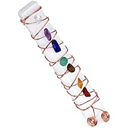 Top Plaza 7 Chakra Reiki Healing Crystal Copper Wire Wraped Raw Selenite Stick for Yoga Meditation Balancing(7 Chakra Chip Stone)
