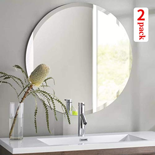 KOHROS Round Beveled Polished Frameless Wall Mirror for Bathroom, Vanity, Bedroom 24 W x 24 H Cricle 2 Pack