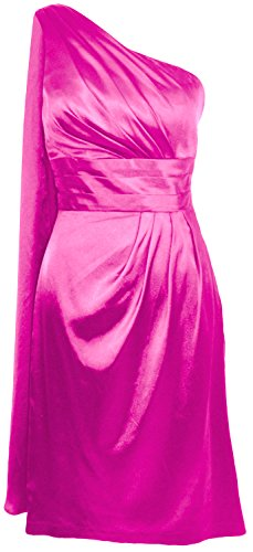 MACloth Women One Shoulder Cocktail Dress Midi Wedding Party Formal Prom Gown Fuchsia