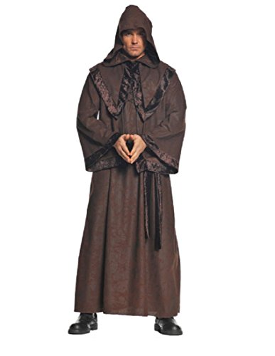 [Underwraps Men's Deluxe Monk Robe, Brown, One Size] (Womens Deluxe Hooded Robe Costumes)