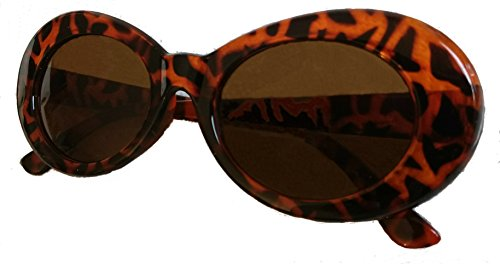 Bold Clout Goggles - UV400 for Eye Protection Leopard Print Frame Kurt Cobain Inspired Retro Mod Style Oval Sunglasses w/ Dark Lenses and Cloth for Men & - Sunglasses Rappers Wear