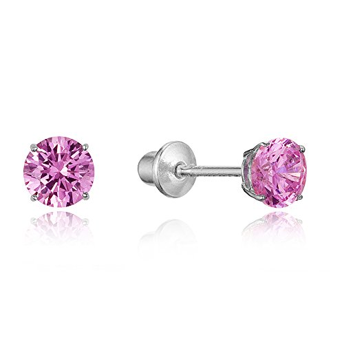 925 Sterling Silver Rhodium Plated 4mm Cubic Zirconia Stud Screwback Baby Girls - Girl October Gold