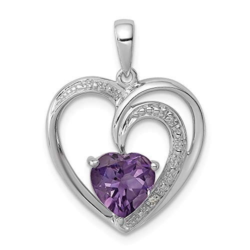 - 925 Sterling Silver Diamond Purple Amethyst Heart Pendant Charm Necklace Gemstone Fine Jewelry Gifts For Women For Her