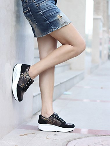up Shoes Orlancy Fitness Sports 3 Shoes Sneakers Women's Leather Lace Walking Black Platform Fashion BBxCX4qT