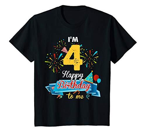 Kids Funny 4th Birthday Kid Tshirt Im 4 Happy Birthday To Me Gift ()