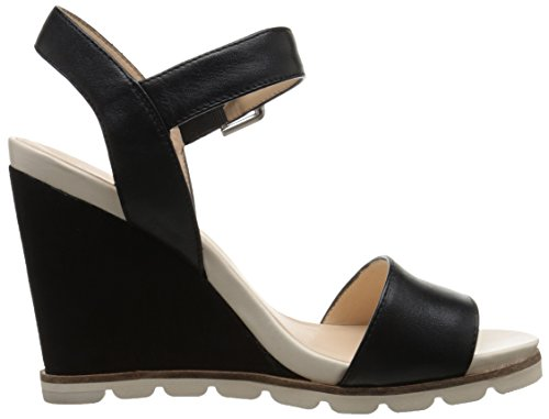 Nine West Women's Gronigen Leather Wedge Sandal Black hbQAjXBz