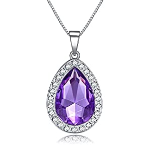 Vcmart Amulet Teardrop Amethyst Necklace Fashion Jewelry Gift for Girls