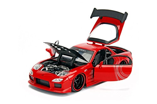 1993 Mazda RX-7 Red with Black Hood JDM Tuners 1/24 Diecast Model Car by Jada 98677