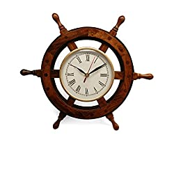 SAAGA handmade wooden Nautical Sail Boat Steering Wheel Antique Look Wall Clock