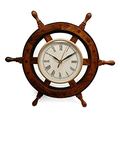 Antique Brass Sailboat - SAAGA handmade wooden Nautical Sail Boat Steering Wheel Antique Look Wall Clock