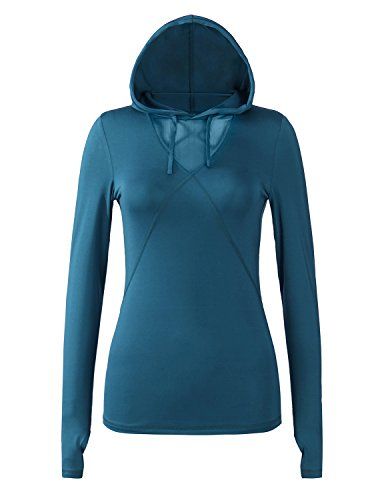 p Neck Long Sleeve Workout Tech Athletic Shirts Teal Blue M ()