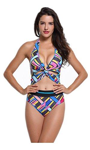 B2prity Women One Piece Swimwear Bathing Suits Cutout Halter Padding Swimsuit (Swimsuit Out Halter Cut)