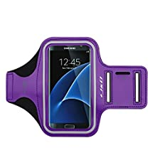 LG G3 Armband, J&D Sports Armband for LG G3, Key holder Slot, Perfect Earphone Connection while Workout Running - Purple