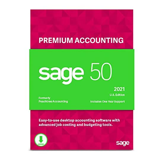 Sage 50 Premium Accounting 2021 U.S. 2-User Small Business Accounting Software [PC Download]