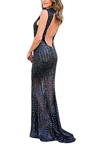 Keyhole Party Sequins Maxi Black Gown made2envy Sleeveless Back Glam qxTBvqYE