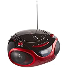 Axess PB2703-RD Portable MP3/CD Boombox with AM/FM Stereo, USB, SD, MMC and AUX Inputs (Red)