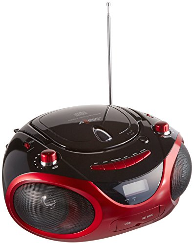 AXESS PB2703 Portable MP3/CD Boombox with AM/FM Stereo, USB, SD, MMC and AUX Inputs (Red)