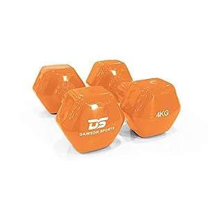DAWSON SPORTS Unisex Adult 12250 Vinyl Dumbbell - 4kg (12250) - Orange, 4kg
