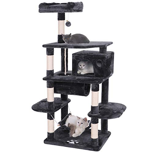 (BEWISHOME Cat Tree Condo Furniture Kitten Activity Tower Pet Kitty Play House Playground with Sisal Scratching Posts Perch Hammock Tunnel Grey MMJ02H)