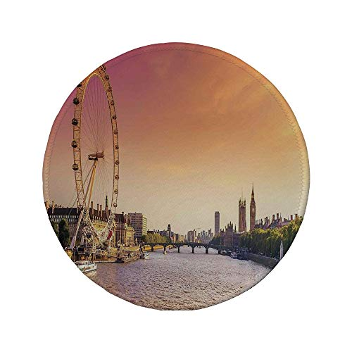 Non-Slip Rubber Round Mouse Pad,London,Sunset View Bridge on Thames River Ferris Wheel London Eye Big Ben Westminster,Peach and -